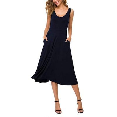 Urban CoCo Sleeveless Swing Midi Dress