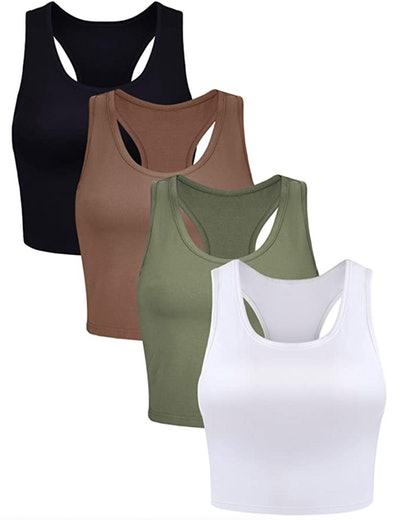 Boao Basic Crop Tank Tops (4-Pieces)