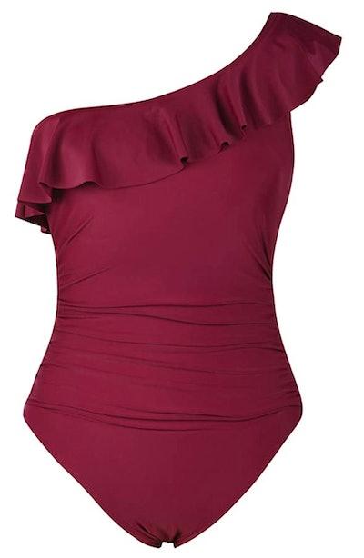 Hilor Women's One-Shoulder Asymmetric Ruffled Monokini