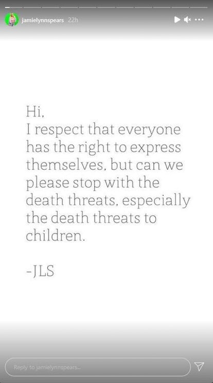 "Britney Spears' sister Jamie Lynn Spears asked followers to ""please stop"" death threats in a July 2 Instagram story."