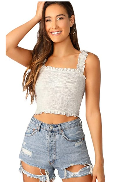 SheIn Frill Smocked Crop Top