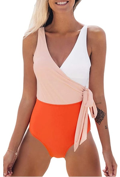 CUPSHE Wrap Colorblock Sash Tie One Piece Swimsuit