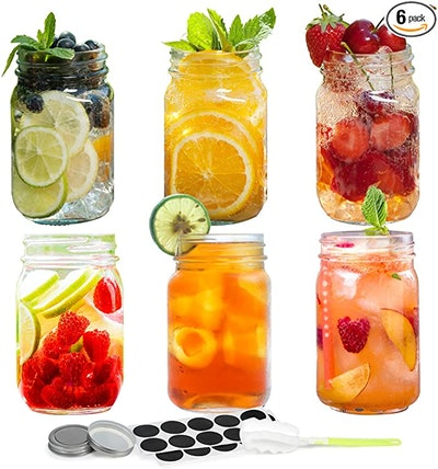 Fixwal Mason Jars with Lids (6-Pack)