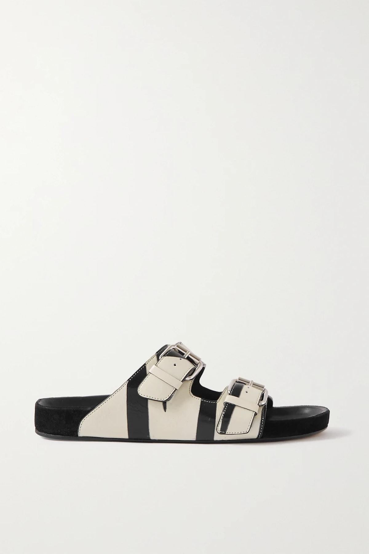 Lennyo Zebra-Print Crinkled-Leather Slides