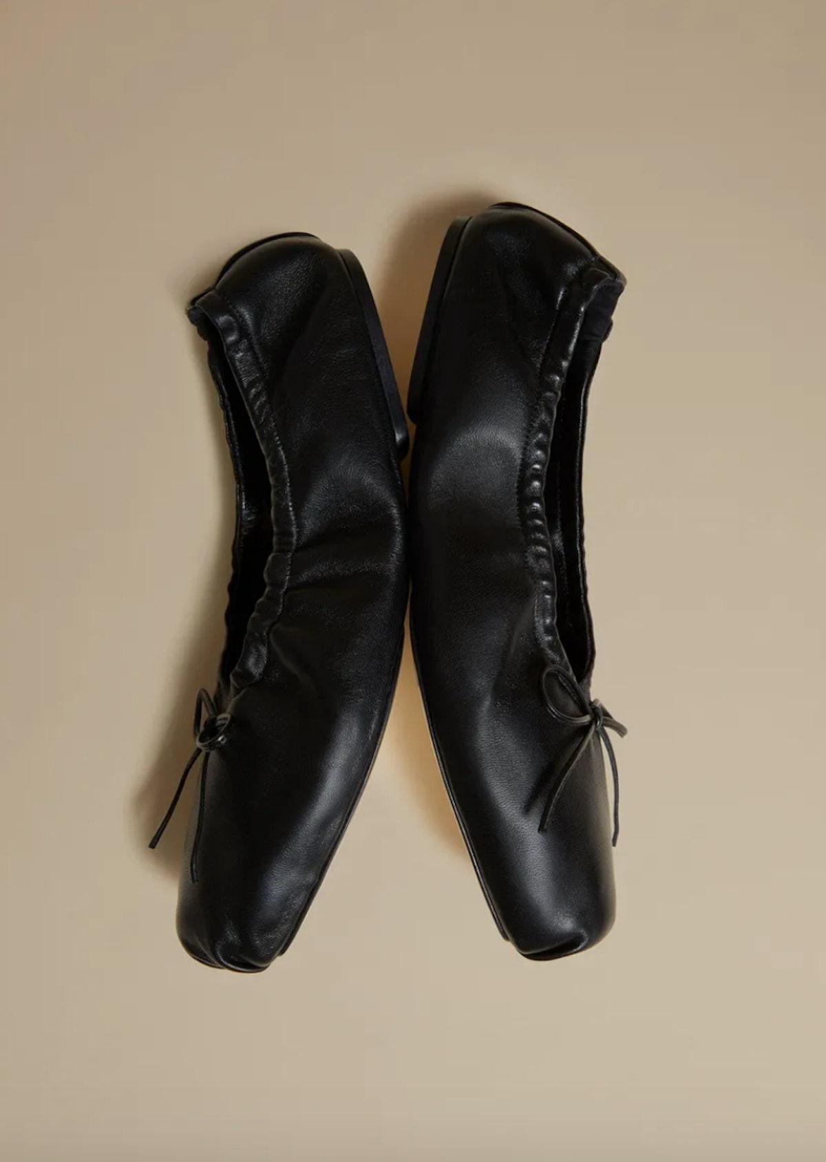 khaite black ballet flats