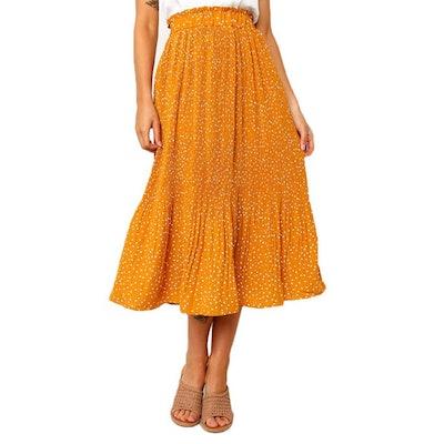 Exlura High Waist Midi Swing Skirt