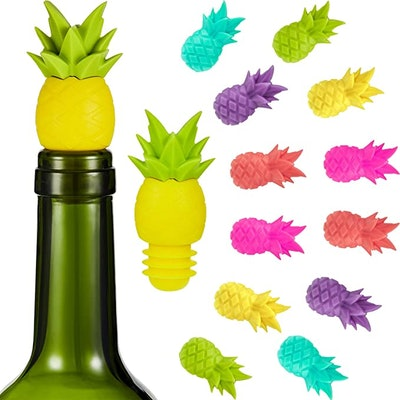Blulu Pineapple Silicone Bottle Stopper (14-Pack)