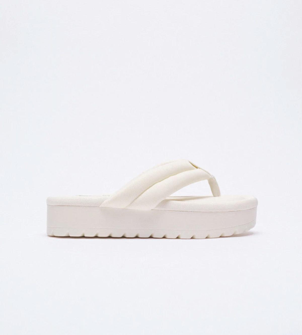 Zara Quilted Platform Sandal white
