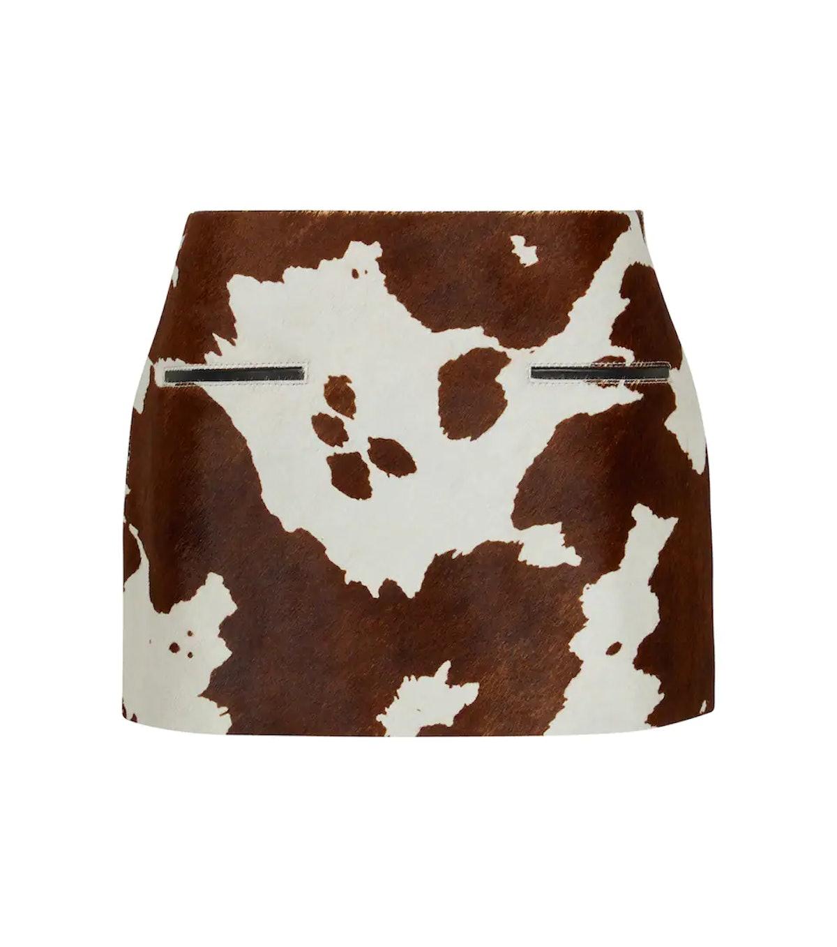 Edie Cow-Print Calf Hair Miniskirt