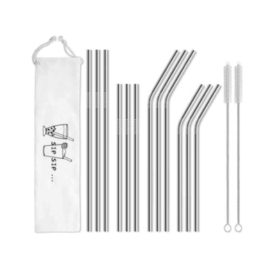 HIWARE Metal Straws With Case (12-Pack)