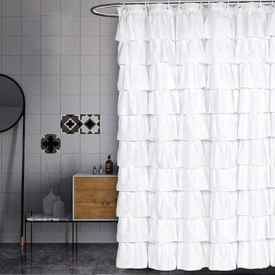 Volens White Ruffle Shower Curtain