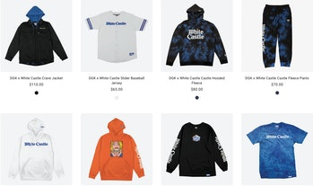 Eight items of clothing are picture bearing the DGK and White Castle logos