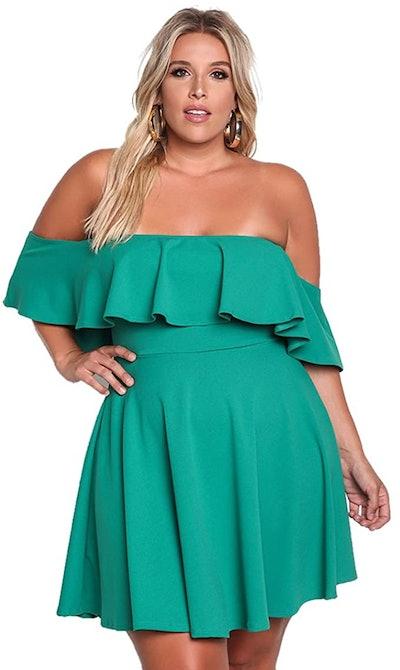 ROSIANNA Off Shoulder Strapless Ruffle Mini Swing Dress