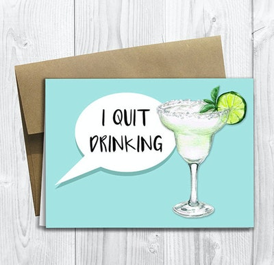 I Quit Drinking Pregnancy Announcement Card