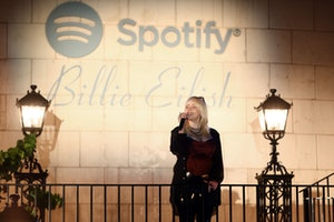 Billie Eilish speaks at her Spotify-hosted album launch party, 'Happier Than Ever: The Destination.'
