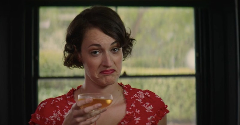 Phoebe Waller Bridge as Fleabag in the BBC series Fleabag. She is raising a cocktail to camera and s...