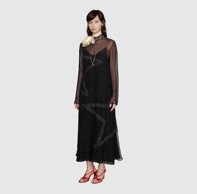 Silk chiffon dress with lace