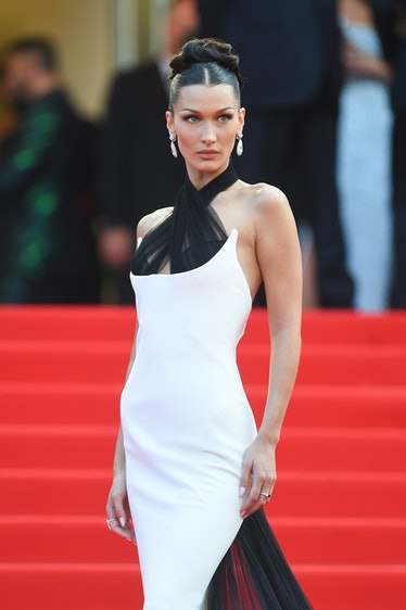 Bella Hadid in black and white gown.