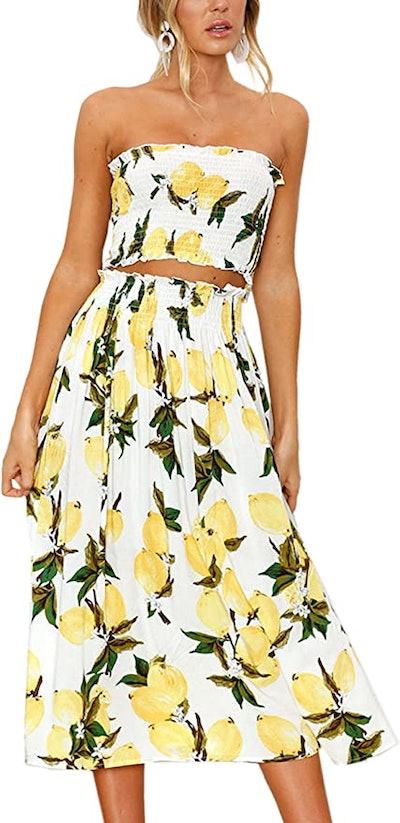 Angashion Floral Tube Top and Midi Skirt (2-Piece)
