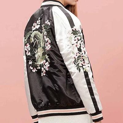 Viport Floral Embroidered Reversible Bomber Jacket