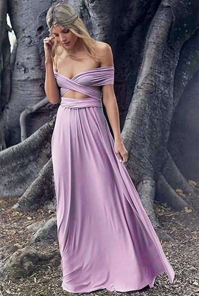 IWEMEK Wrap Maxi Evening Gown