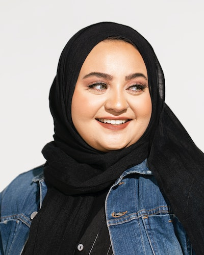 Model wears black hijab from the new Nordstrom x Henna & Hijabs partnerhip, released July 2021.
