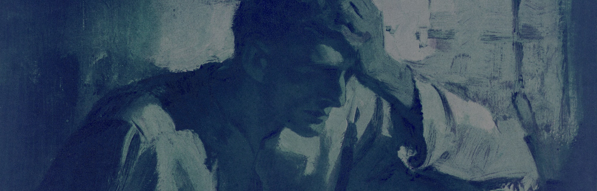 A worried, sleepless man in bed in the middle of the night with his head in his hand, c. 1925. Scree...
