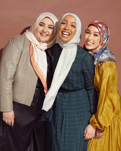 Henna & Hijabs CEO and founder Hilal Ibrahim and models wear hijabs from the new Nordstrom x Henna &...