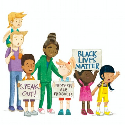 'Our Skin' Illustration by Isabel Roxas features diverse grown-ups and children holding signs that r...