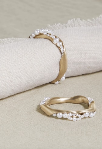 Set of Two Gold-tone Faux Pearl Napkin Rings