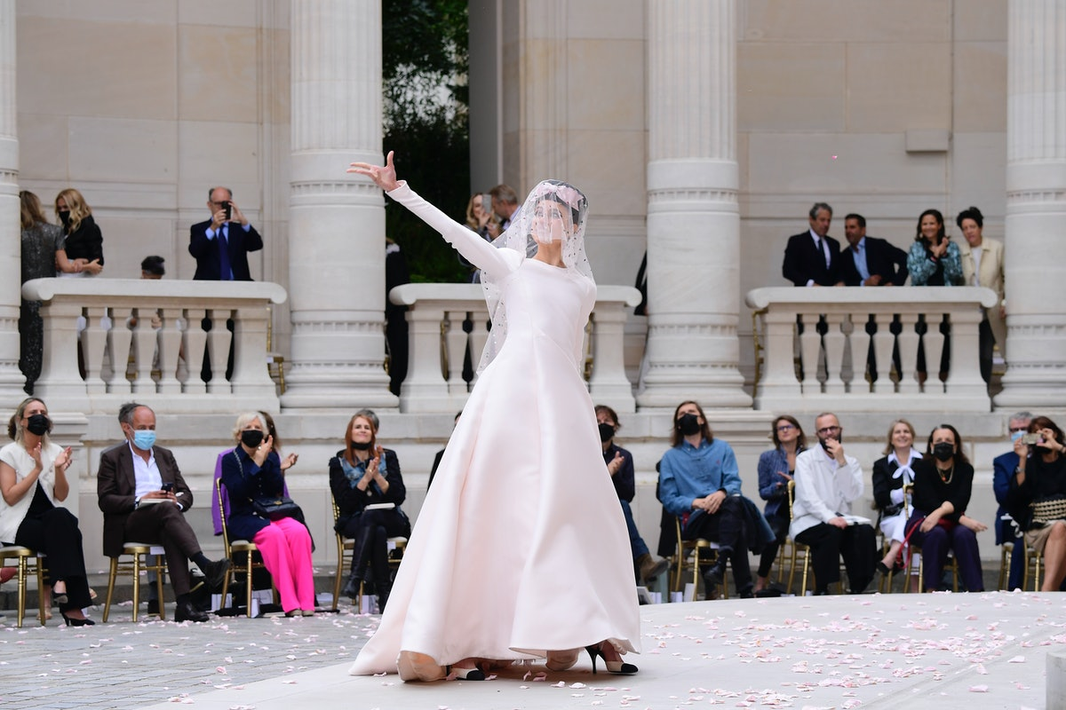 Margaret Qualley as a Chanel couture bride