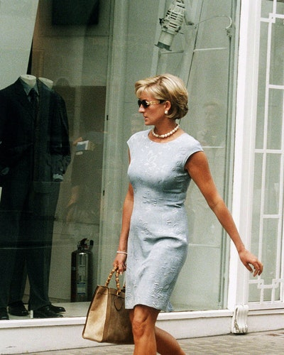 Diana, Princess of Wales shopping on Bond Street, London in 1997.