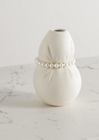 Ceramic and Faux Pearl Vase