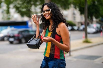 Woman with curly hair street style