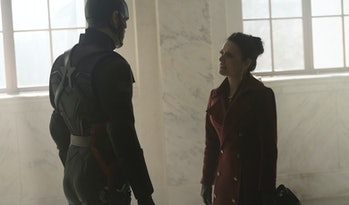 Julia Louis-Dreyfus and Wyatt Russell in The Falcon and the Winter Soldier Episode 6