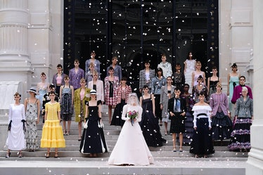 The grand finale of Chanel's fall 2021 couture show, featuring Margaret Qualley.