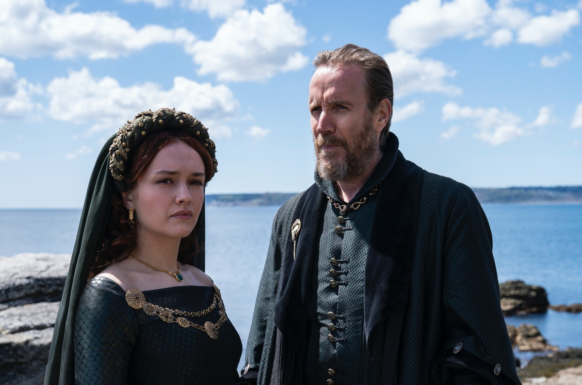 Olivia Cooke as Queen Alicent Hightower and Rhys Ifans as her father Otto Hightower, Hand of the King  in 'House of the Dragon'