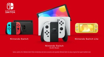 three Nintendo Switch consoles sitting side by side