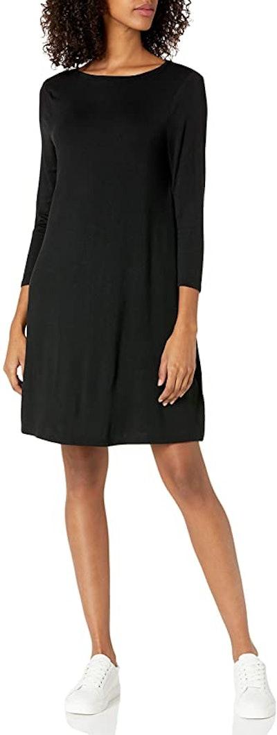 Amazon Essentials Women's 3/4 Sleeve Boatneck Swing Dress
