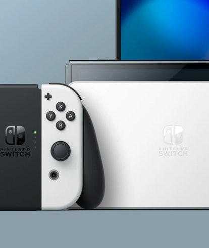 A picture of Nintendo's new OLED Switch model. Gaming. Games. Console gaming. Video games.