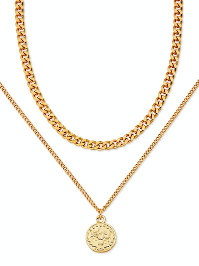 """Brass Yellow Gold-Plated Layered Coin Necklace, 16.5"""" + 3"""" Extender"""