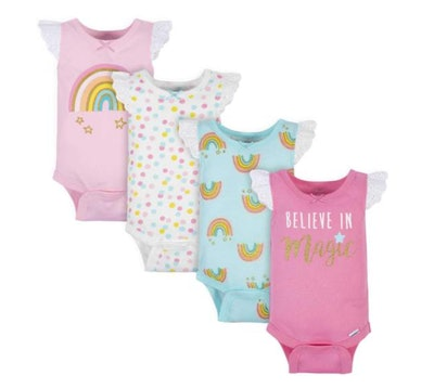 Gerber® 4-Pack Baby Girls Rainbow Sleeveless Onesies Bodysuits