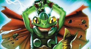 Throg wielding Mjolnir in Marvel Comics