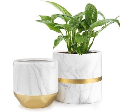 HOMENOTE White Ceramic Flower Pot (2-Pack)
