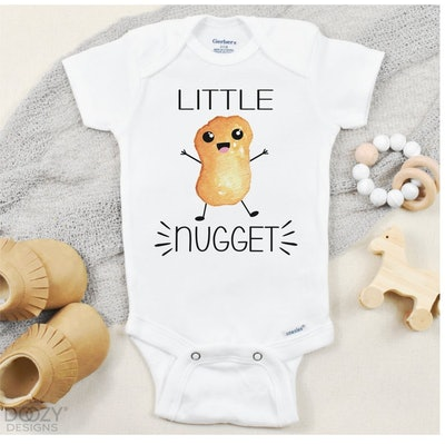 Little Nugget Onesie ®, Chicken Nugget Baby Shirt, Funny Baby Clothes, Food Baby Clothing, Unisex Ba...