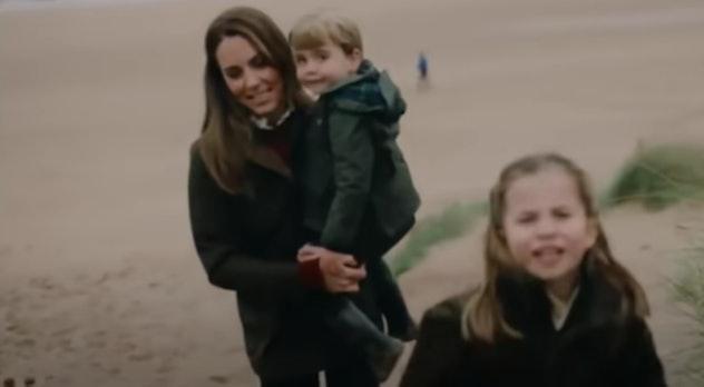 The Cambridge family on the beach.