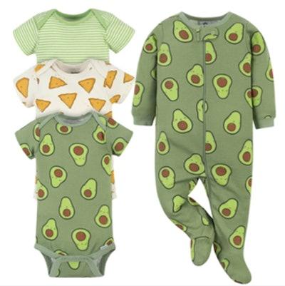 4-Piece Baby Green Avocados Onesies® Brand Bodysuit & Sleep 'N Play Set