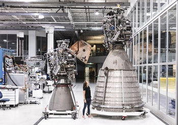 SpaceX's Raptor, with the sea-level variant on the left and the vacuum variant on the right.