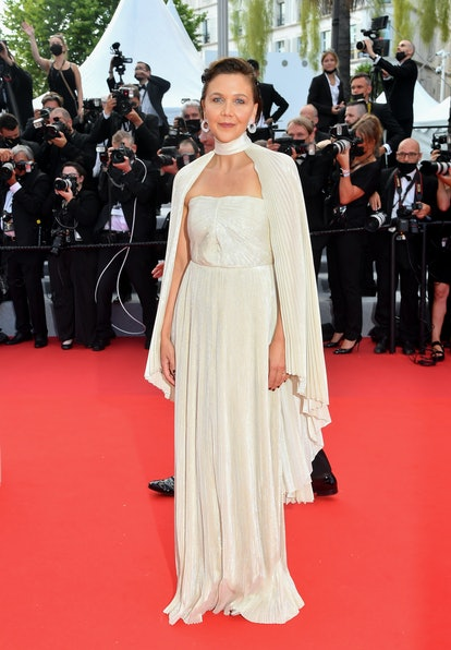 """Maggie Gyllenhaal attends the """"Annette"""" screening and opening ceremony during the 74th annual Cannes Film Festival on July 06, 2021 in Cannes, France."""