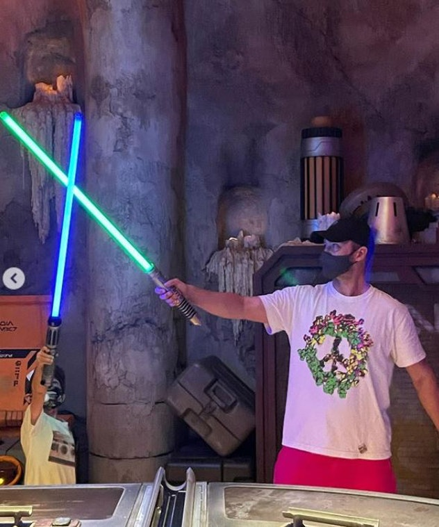 Justin Timberlake and his son Silas, 6, in Star Wars: Galaxy's Edge at Disney World in Florida on Ma...
